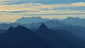Early morning in the Swiss Alps. View from mount Rigi. Stock Photography