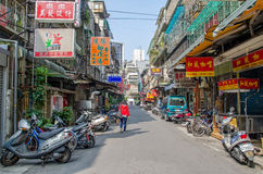 Early morning of Taipei city street view ,people can seen walking through the street. Royalty Free Stock Image