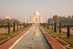 Early morning at Taj Mahal stock photos