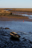 Early Morning, tides out, Old boat  scene. Stock Images