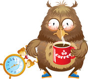 Early morning time - funny owl with cup of coffee. And alarm clock in its hands Royalty Free Stock Photos