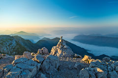 Early morning on the top of the mountain Krn Royalty Free Stock Photography