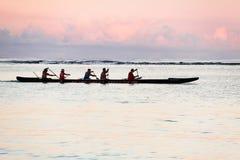 Early morning training of regatta crew stock photo