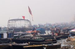 Early morning at Tulsi Ghat in holy Ganges River ,Benares Royalty Free Stock Images
