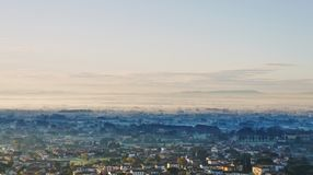 Early morning in Tuscanny. View from Buggiano Castello, overlooking Basetti and surroundings Stock Images