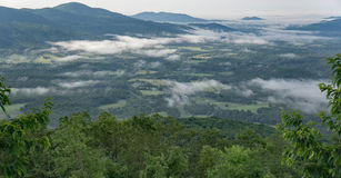 Early Morning Valley Fog in the Mountains Stock Photography