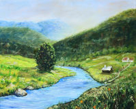 Early morning in the valley original landscape painting Stock Images