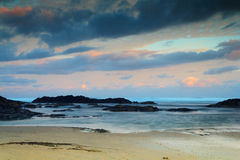 Early morning view of the beach at Polzeath Royalty Free Stock Photo