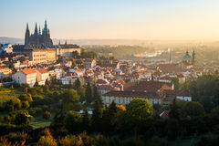 Early morning view of beautiful Prague city center Royalty Free Stock Image