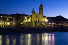 Early morning view of  church at seaside. Sitges Royalty Free Stock Photography