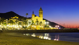 Early morning view of  church at Sitges Royalty Free Stock Photo