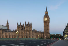 Early morning view of empty Westminster Bridge and Big Ben Stock Images