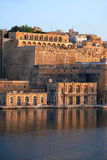 The early morning view of Fort Lascaris. Valletta Stock Photos