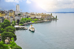 Early morning view of Geneva lake coast. Stock Photography