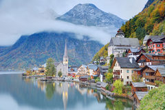 Early morning view of Hallstatt with reflections on lake water Stock Photo