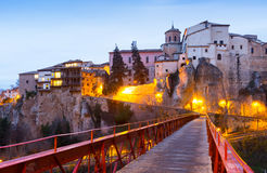 Early morning view of Hanging Houses  in Cuenca Royalty Free Stock Images