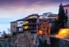 Early morning view at Hanging Houses in Cuenca Royalty Free Stock Photos
