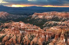 Inspiration Point prepares for morning sunlight across Bryce Canyon National Park. stock images