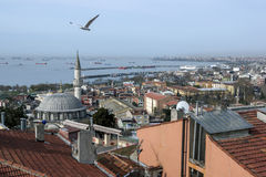 An early morning view looking from Sirkeci towards the Bosphorus(sea) in Istanbul in Turkey. Royalty Free Stock Images