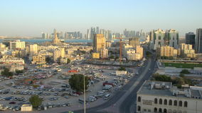 Early morning view looking towards Kassem Mosque, Doha stock video footage