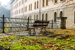 Early morning view in Luxembourg. Early morning view with the bench in Luxembourg stock photos