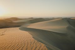 Early morning view of sand dunes in Maspalomas Dunes in Gran Canaria, Canary Islands royalty free stock photo