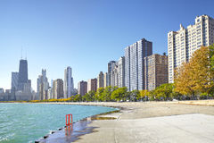 Early morning view of Michigan Lakefront Trail in Chicago. Royalty Free Stock Photos