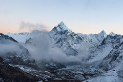 Early morning view of mountain Ama Dablam summit on the Everest Base Camp trek in Himalayas, Nepal. Stock Photos
