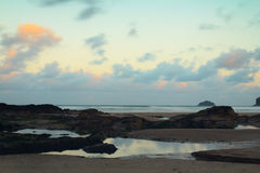Early morning view over the beach at Polzeath Royalty Free Stock Photo