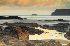 Early morning view over the beach at Polzeath Royalty Free Stock Photography