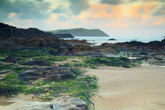 Early morning view over the beach at Polzeath Royalty Free Stock Photos