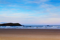 Early morning view over the beach at Polzeath Stock Photo