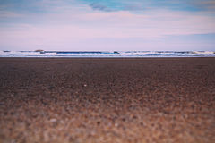 Early morning view over the beach at Polzeath Vintage Retro Filt Royalty Free Stock Photography