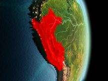 Peru in morning from orbit. Early morning view of Peru highlighted in red on planet Earth. 3D illustration. Elements of this image furnished by NASA royalty free stock image