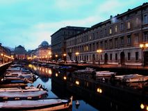 An early morning view of the river in Trieste, Italy royalty free stock photos