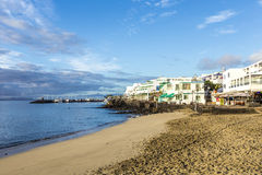 Early morning view to the promenade  in Playa Blanca Stock Photography