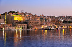 The early morning view of Valletta fortifications from the water Stock Photo