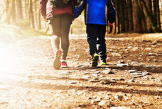 Early morning walking outdoor. Women and child walking in the outdoor Royalty Free Stock Image