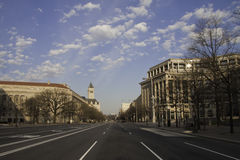 Early Morning Washington DC. Street outside of National Archives in the early morning without traffic.  ProPhoto RGB/Lightroom Royalty Free Stock Image