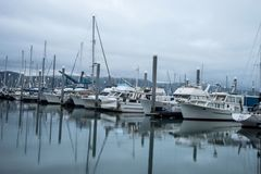 Early morning water reflections in Resurrection Bay, Alaska. stock photography