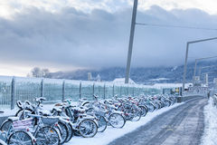 Early morning of a winter day in Zurich Stock Photos