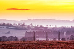 Early Morning Winter Landscape. With Fog. Southern Bohemia - Czech Republic royalty free stock image