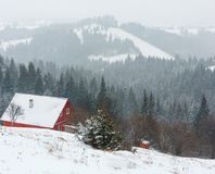 Early morning winter mountain village landscape Royalty Free Stock Photography