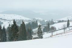 Early morning winter mountain village landscape. Jablunytsia village, Carpathian Mountains, Ukraine. Overcast windy bad weather with some blizzard stock photos