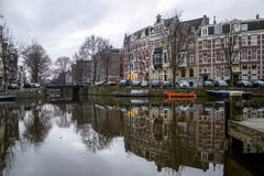 Early morning winter view on one of Amsterdam canals Stock Images