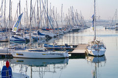 Early morning in the yacht marina in Durban Harbor precinct, featuring pleasure craft. Stock Image