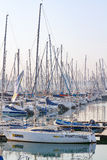 Early morning in the yacht marina in Durban Harbor precinct, featuring pleasure craft. Stock Photos