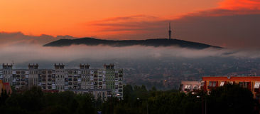 Early morning yellow autumn city sunrise Royalty Free Stock Photo