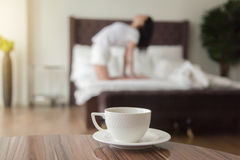 Early morning with yoga and coffee Stock Photos
