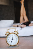 Early morning a young beautiful woman Royalty Free Stock Image